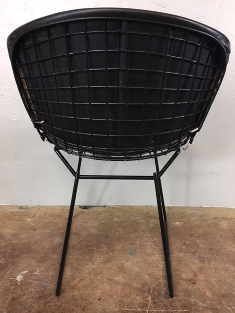 Mid-20th Century Harry Bertoia Black Metal Chairs with Black Leather Pads For Sale