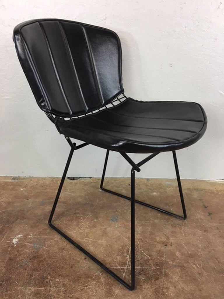 Mid-Century Modern Harry Bertoia Black Metal Chairs with Black Leather Pads For Sale
