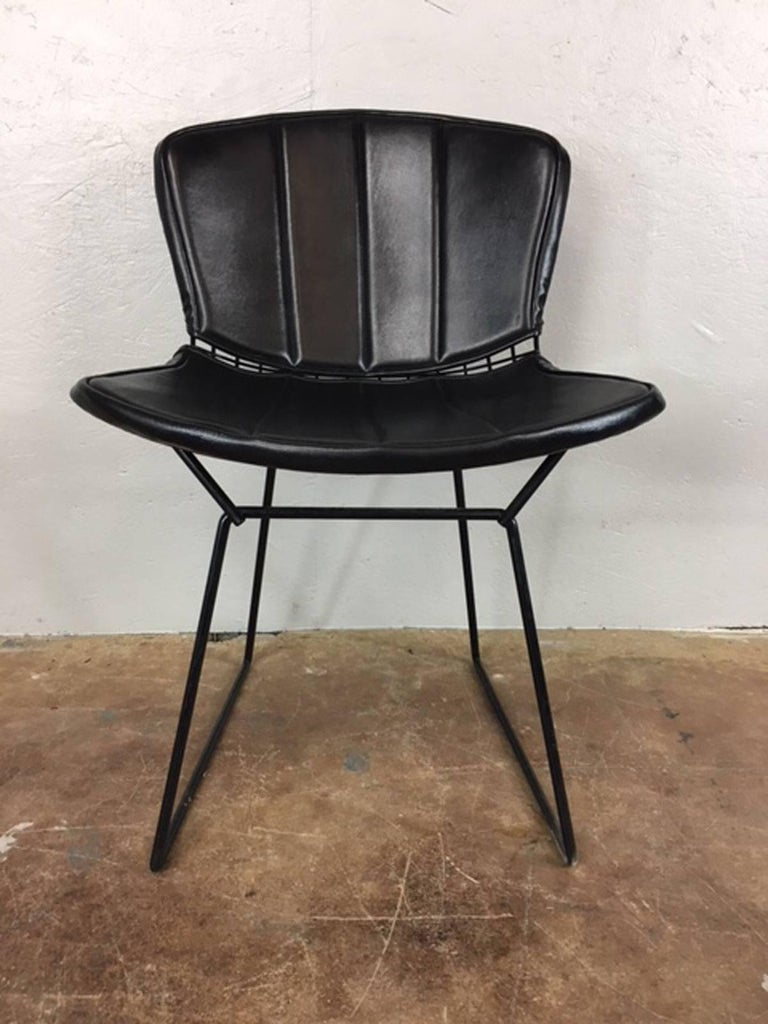 American Harry Bertoia Black Metal Chairs with Black Leather Pads For Sale