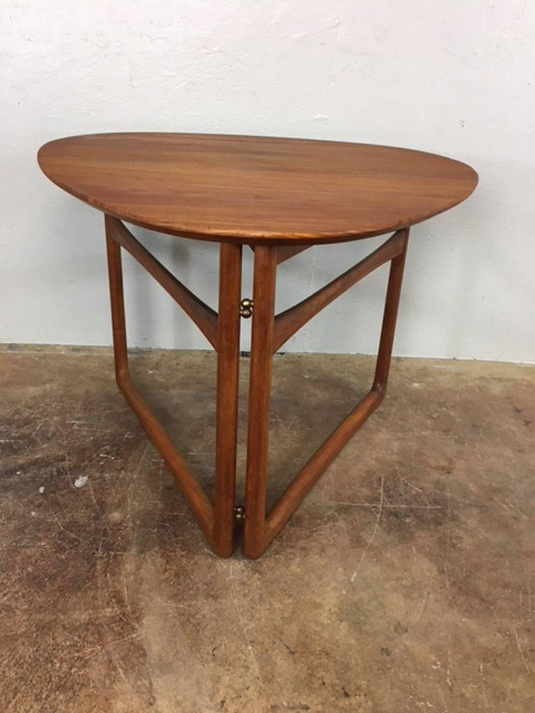 Peter Hvidt Folding Side Table in Teak For Sale 1