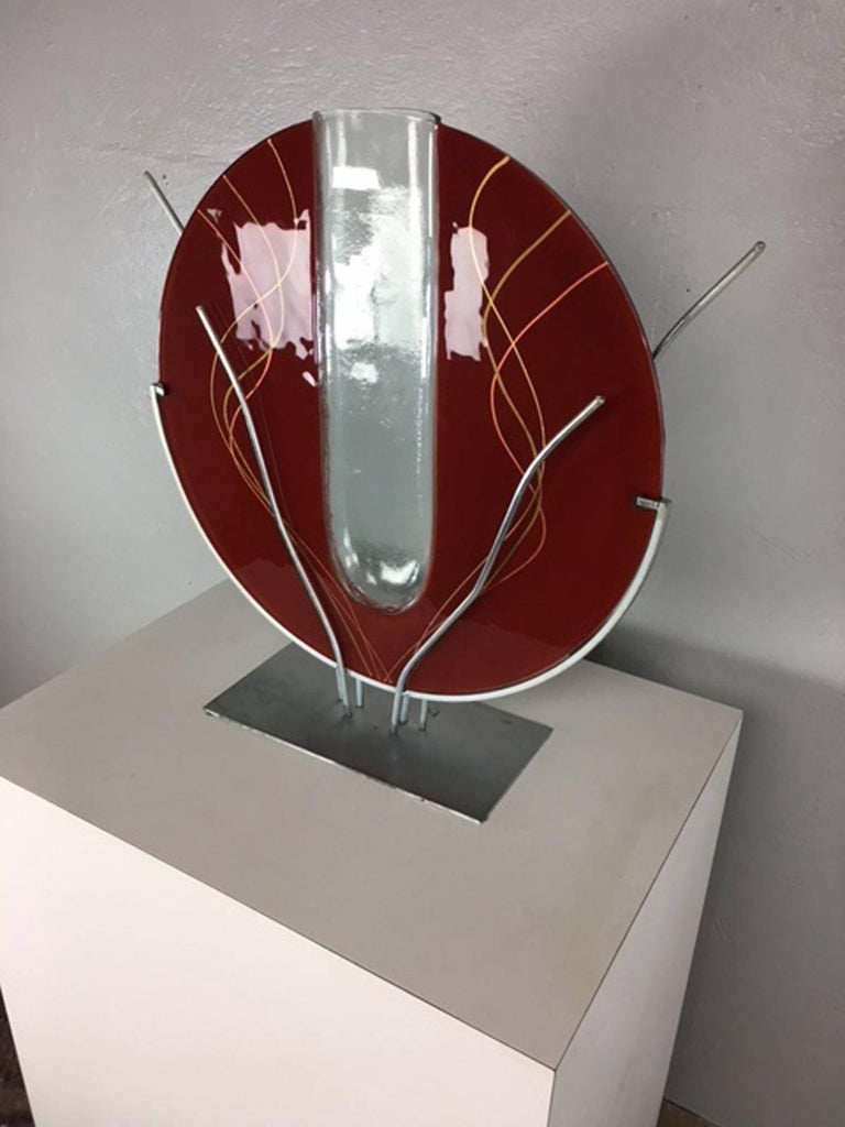 Art glass and mixed metal sculpture by mark hines for sale