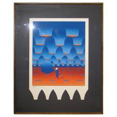 Original Albuquerque Balloon Fest Signed Silkscreen by Maan, 1980
