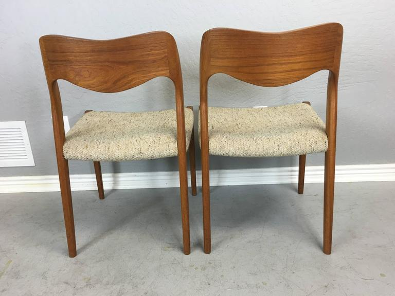 Mid-Century Modern Pair of J.L. Moller Teak Dining Chairs For Sale