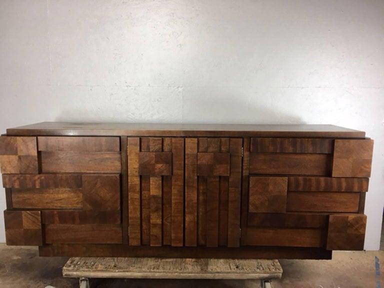 Patchwork Brutalist Dresser or Credenza by Altavista Lane 9