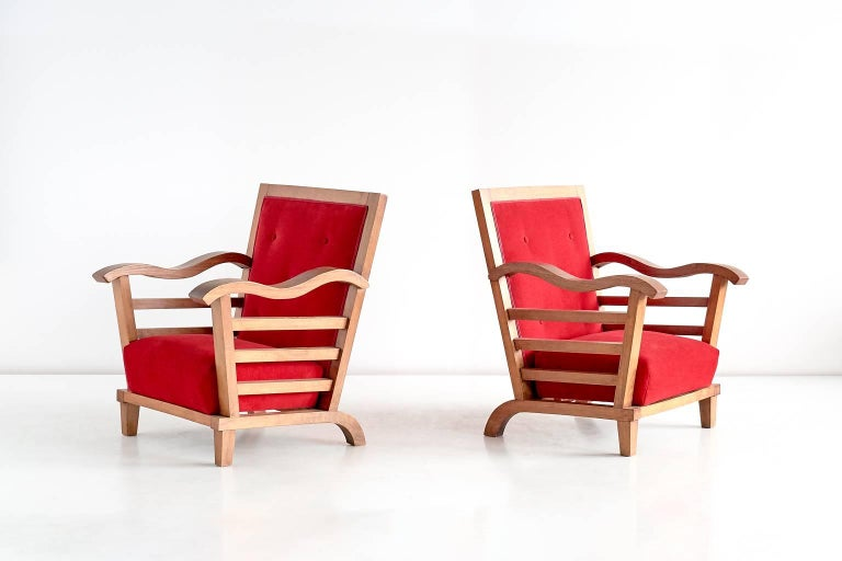 Important Pair of Oak Armchairs by Marguerite Dubuisson, France, 1947 3