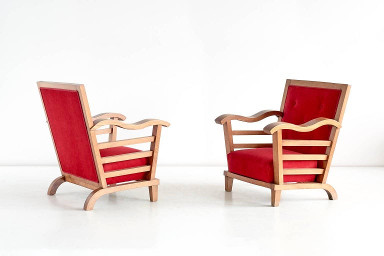 Important Pair of Oak Armchairs by Marguerite Dubuisson, France, 1947 4