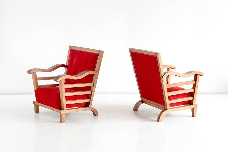 Important Pair of Oak Armchairs by Marguerite Dubuisson, France, 1947 5