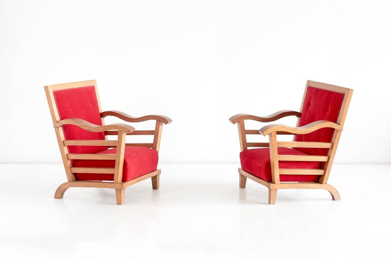Important Pair of Oak Armchairs by Marguerite Dubuisson, France, 1947 7