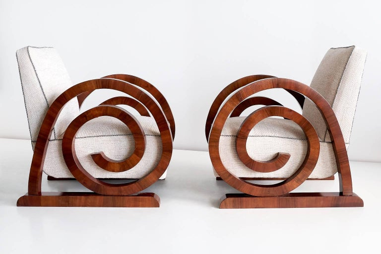 Pair Of Art Deco Armchairs In Walnut France 1930s For
