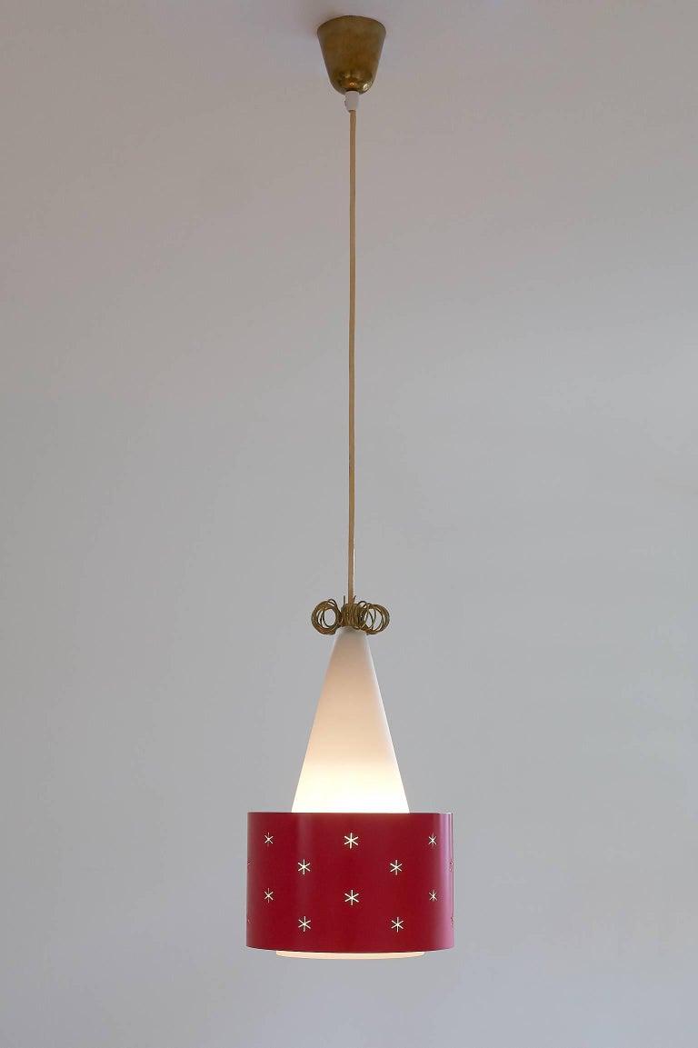 Scandinavian Modern Paavo Tynell Red Pendant, Model K2-10, Idman Finland, 1955 For Sale
