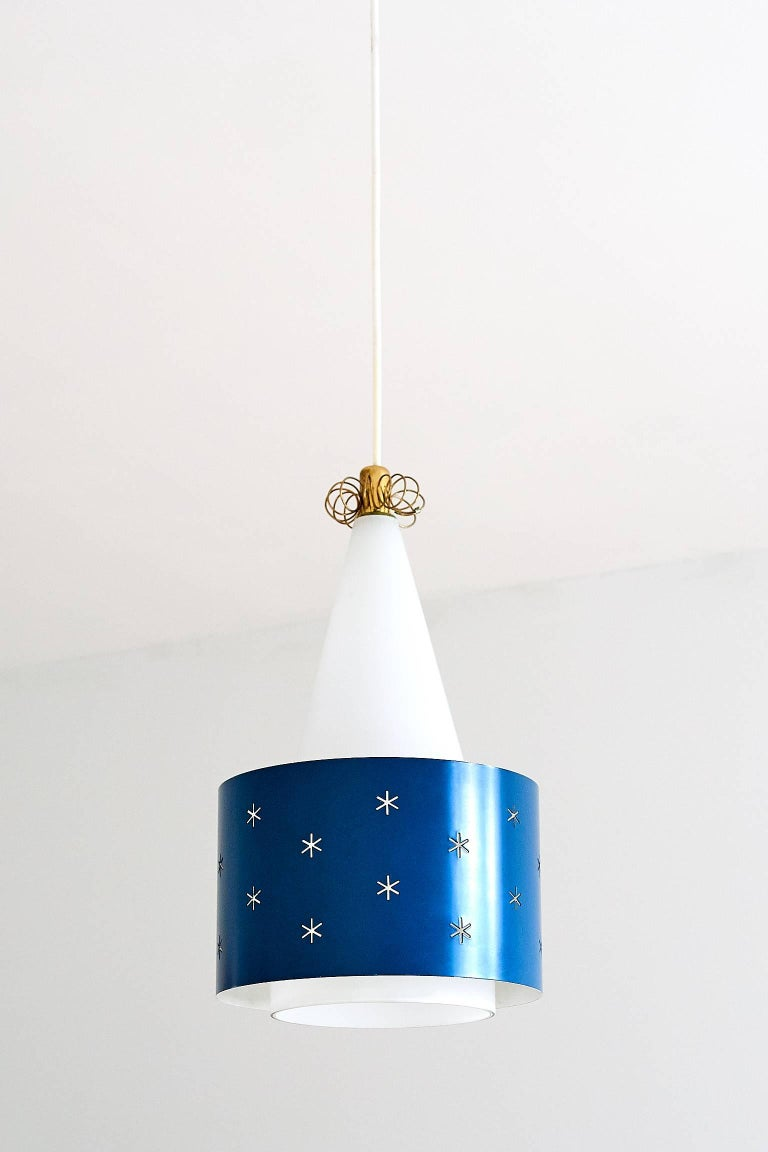 Painted Paavo Tynell Blue Pendant, Model K2-10, Idman Finland, 1955 For Sale