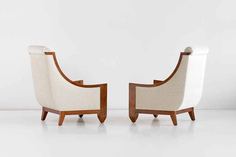 French Important Pair of André Sornay Armchairs, France, Late 1920s For Sale