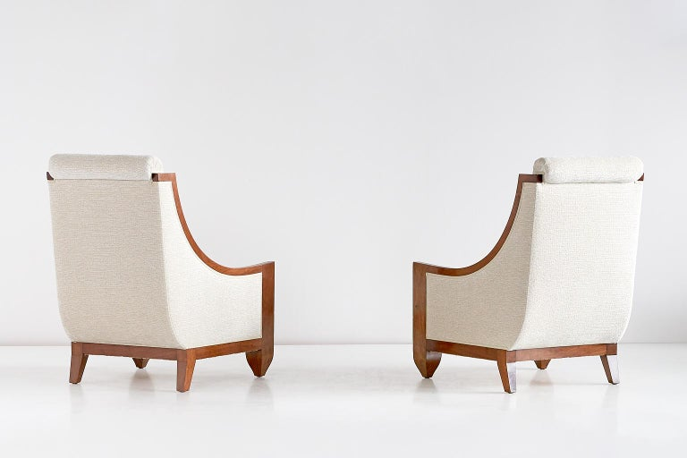 Polished Important Pair of André Sornay Armchairs, France, Late 1920s For Sale
