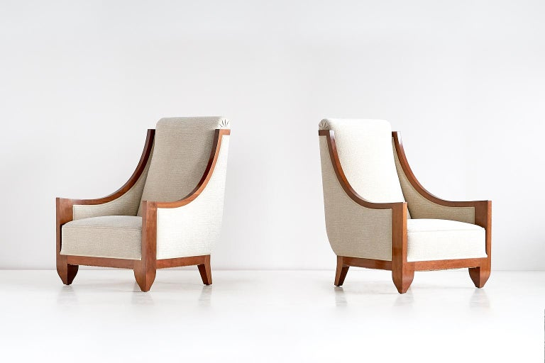 This rare pair of armchairs was designed by André Sornay and produced in his own workshop in Lyon, France in the late 1920s.