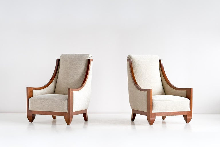 Early 20th Century Important Pair of André Sornay Armchairs, France, Late 1920s For Sale
