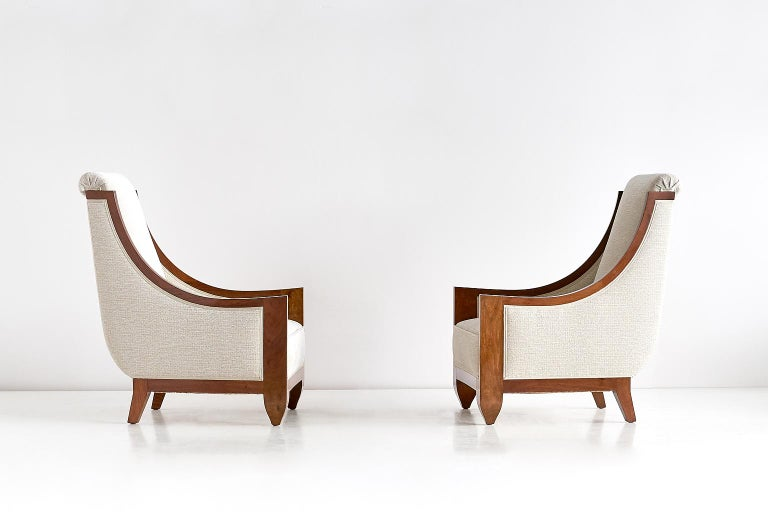 Art Deco Important Pair of André Sornay Armchairs, France, Late 1920s For Sale