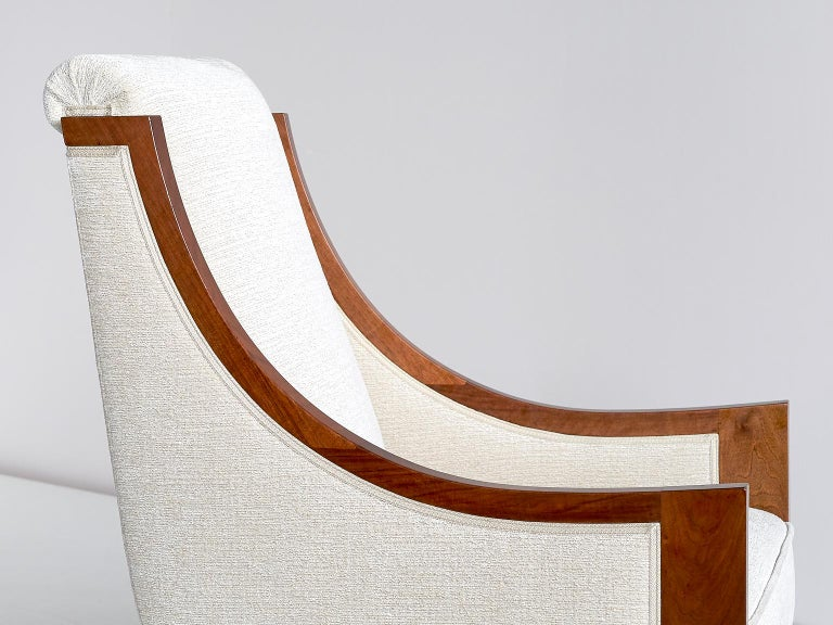 Walnut Important Pair of André Sornay Armchairs, France, Late 1920s For Sale