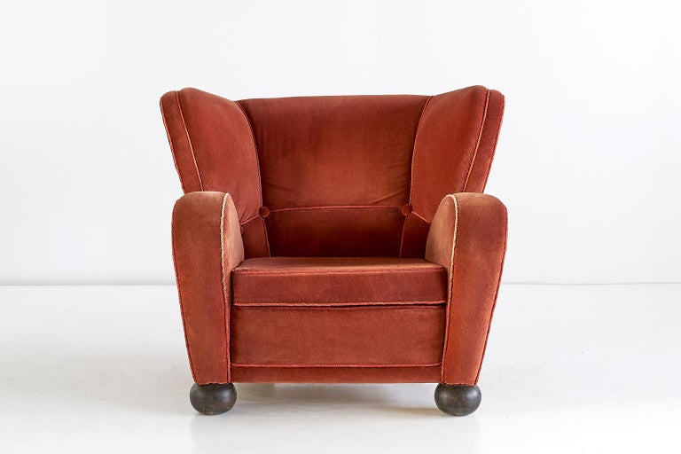 Scandinavian Modern Märta Blomstedt Armchair in Mohair Designed for Hotel Aulanko, Finland, 1939 For Sale