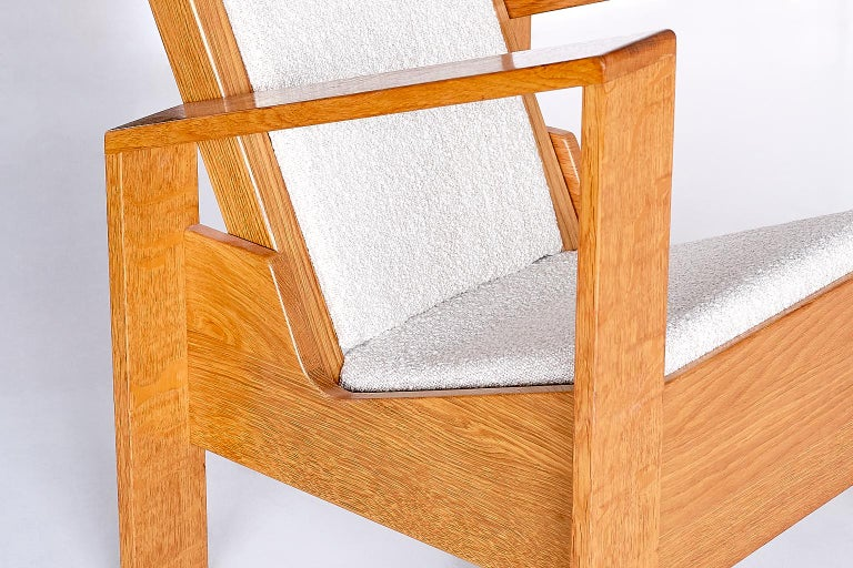 Modernist Armchair in Solid Oak and Ivory Lelièvre Fabric, France, 1940s For Sale 3
