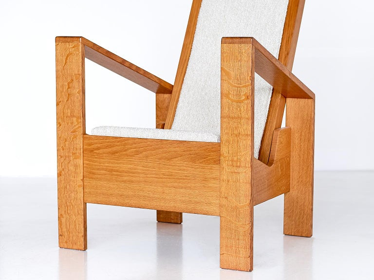 Modernist Armchair in Solid Oak and Ivory Lelièvre Fabric, France, 1940s For Sale 7