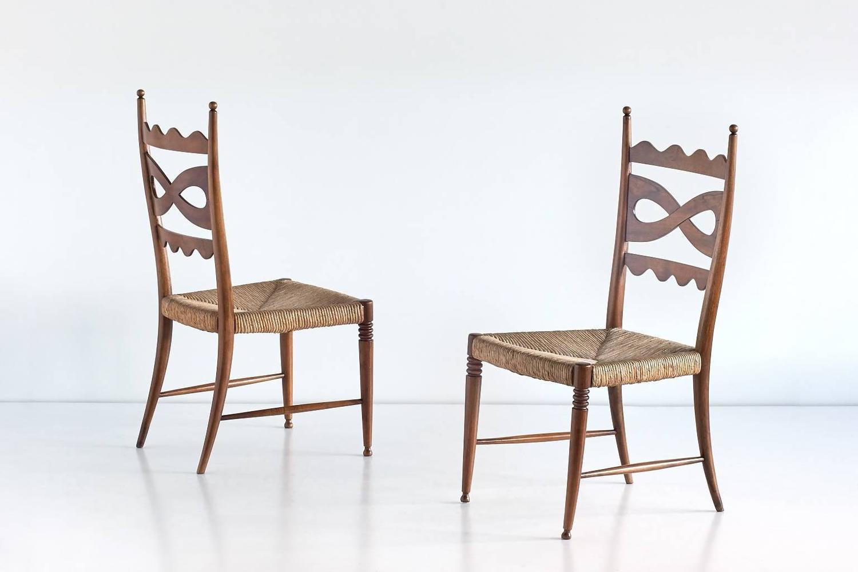 Paolo Buffa Set Of Six Walnut And Rush Dining Chairs