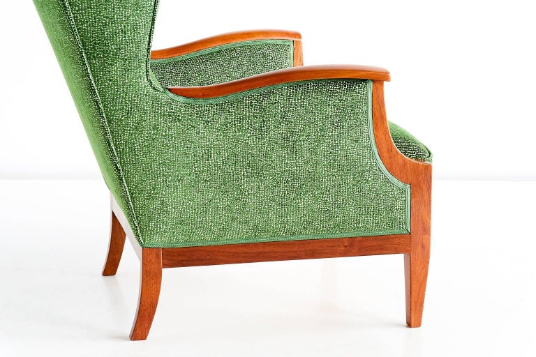 Fabric 1930s Frits Henningsen Wingback Chair For Sale