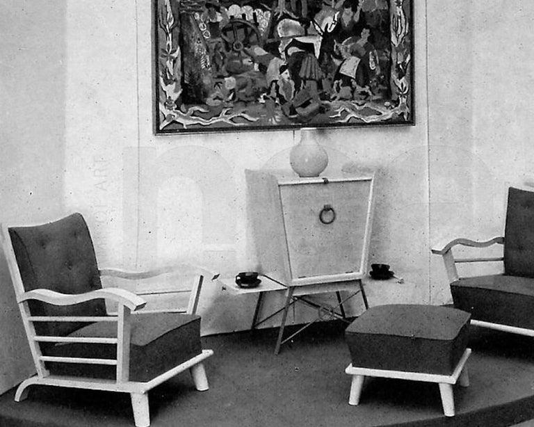 Important Pair of Oak Armchairs by Marguerite Dubuisson, France, 1947 9