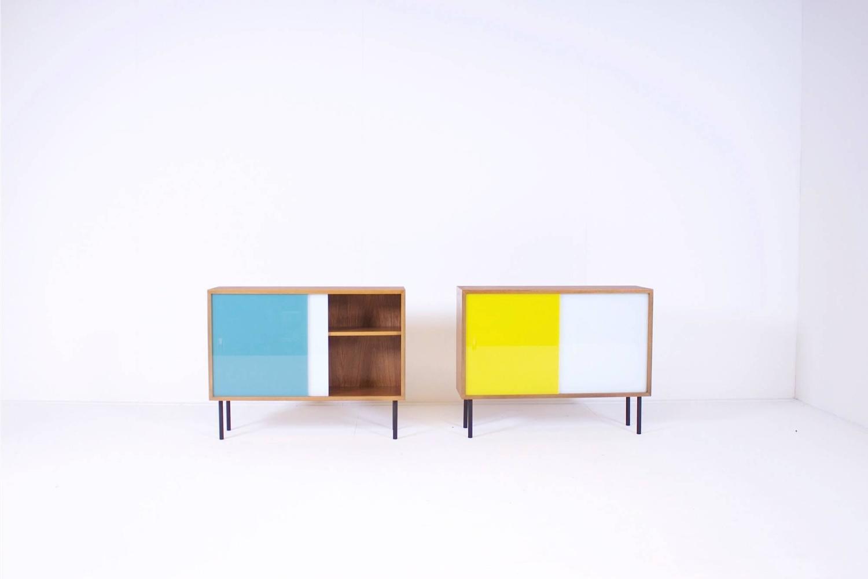 small teak cabinets by georg satink for wk m bel at 1stdibs. Black Bedroom Furniture Sets. Home Design Ideas