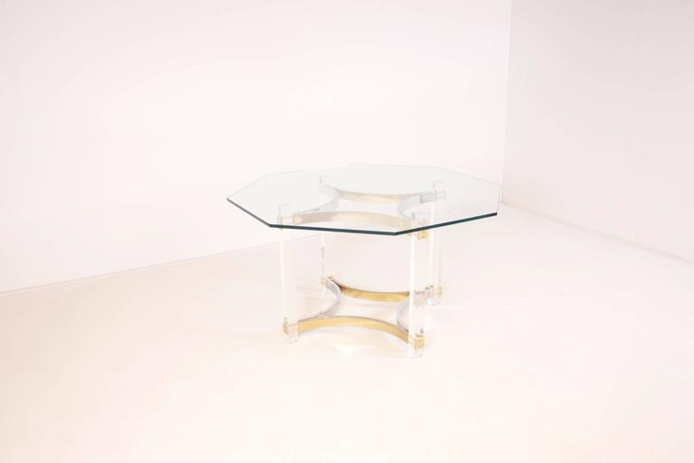 Hollywood Regency Lucite, Brass and Chrome Dining Table by Alessandro Albrizzi