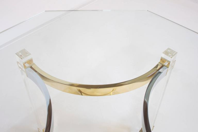 Polished Lucite, Brass and Chrome Dining Table by Alessandro Albrizzi