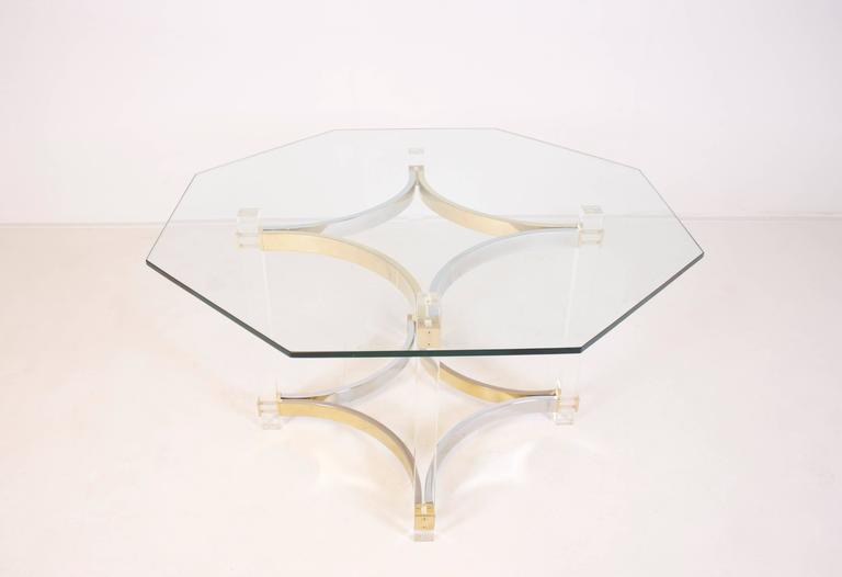 Italian Lucite, Brass and Chrome Dining Table by Alessandro Albrizzi