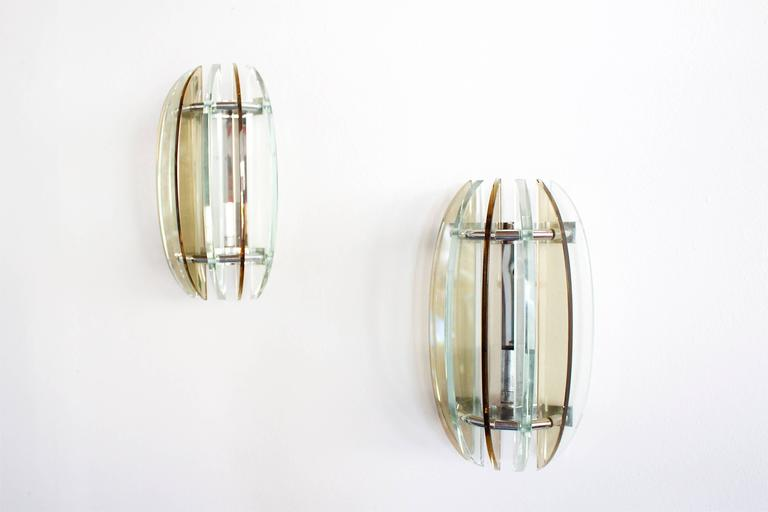 Hollywood Regency Pair of Italian Veca Sconces For Sale