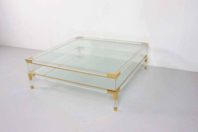 Beautiful 1970s Coffee Table By Maison Jansen Lucite With Brass Details And Glass Tops