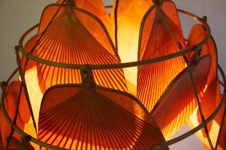 Rare Large Uchiwa Fan Chandelier by Ingo Maurer, 1975 6