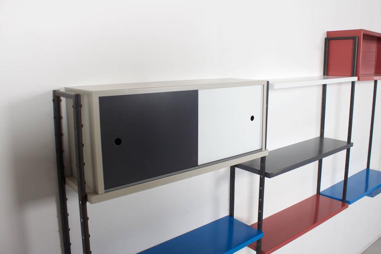 Mid-Century Modern Impressive Metal Wall Unit Attributed to Mathieu Mategot, 1960s For Sale