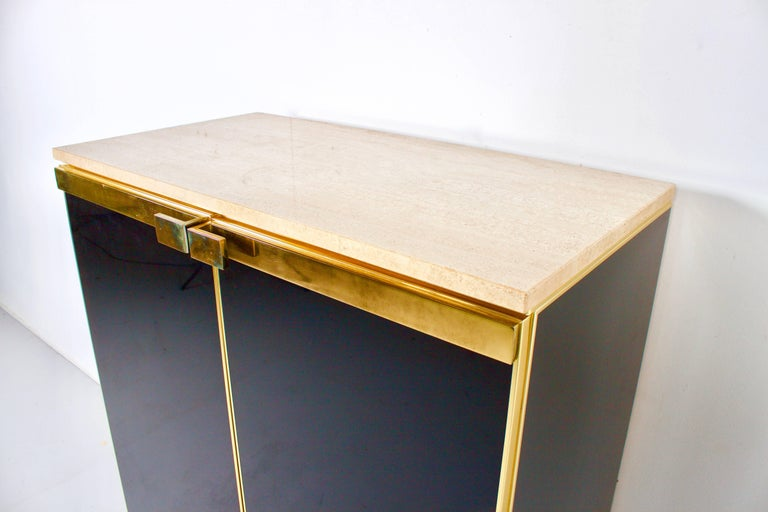 French 1970s Brass, Travertine and Black Lacquered Cabinet For Sale