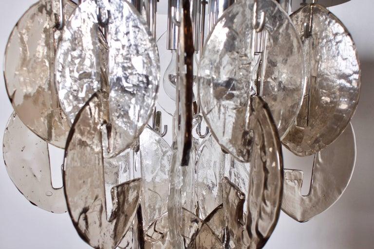 Large Glass an Chrome Flush Mount by Kalmar Austria, 1970s For Sale 2