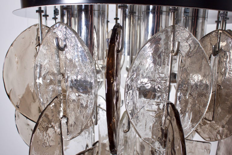 Large Glass an Chrome Flush Mount by Kalmar Austria, 1970s In Excellent Condition For Sale In Echt, NL