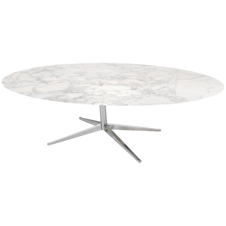 Original Florence Knoll Marble Oval Dining Table or Desk for Knoll International