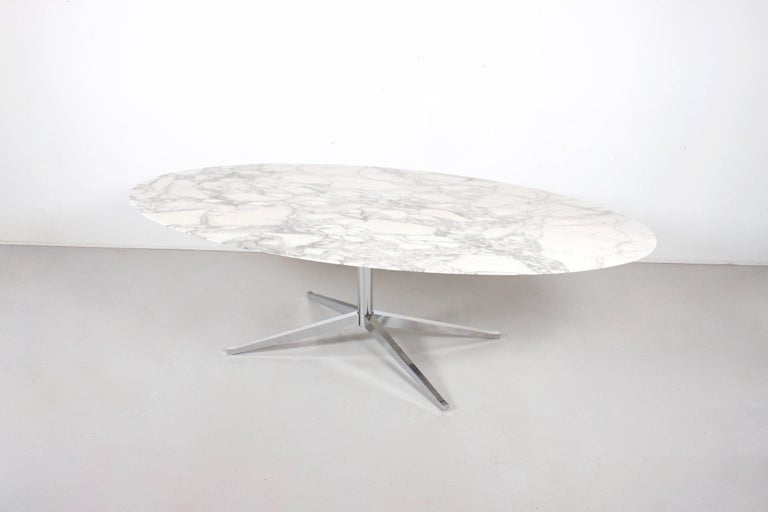 Original Florence Knoll Marble Oval Dining Table Or Desk