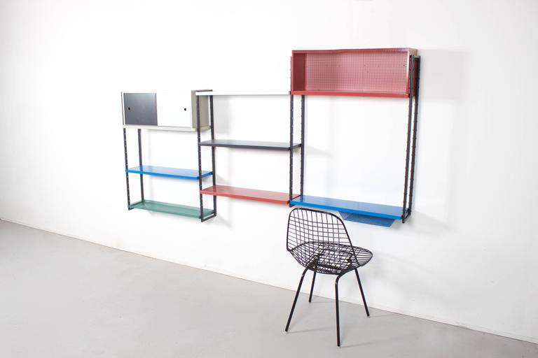 Impressive Metal Wall Unit Attributed to Mathieu Mategot, 1960s For Sale 1