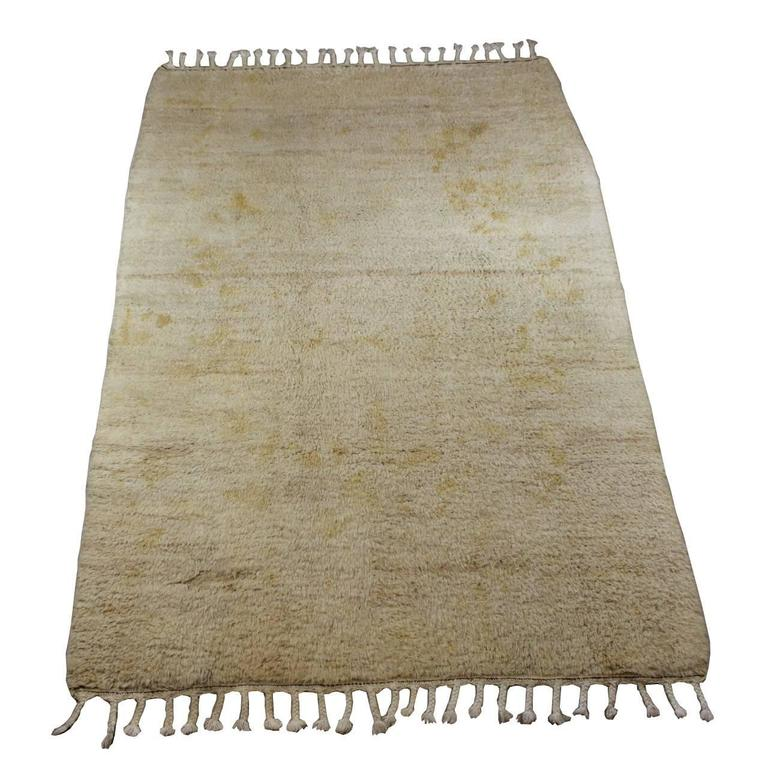 Old Beni Ourain Golden Cream Moroccan Rug