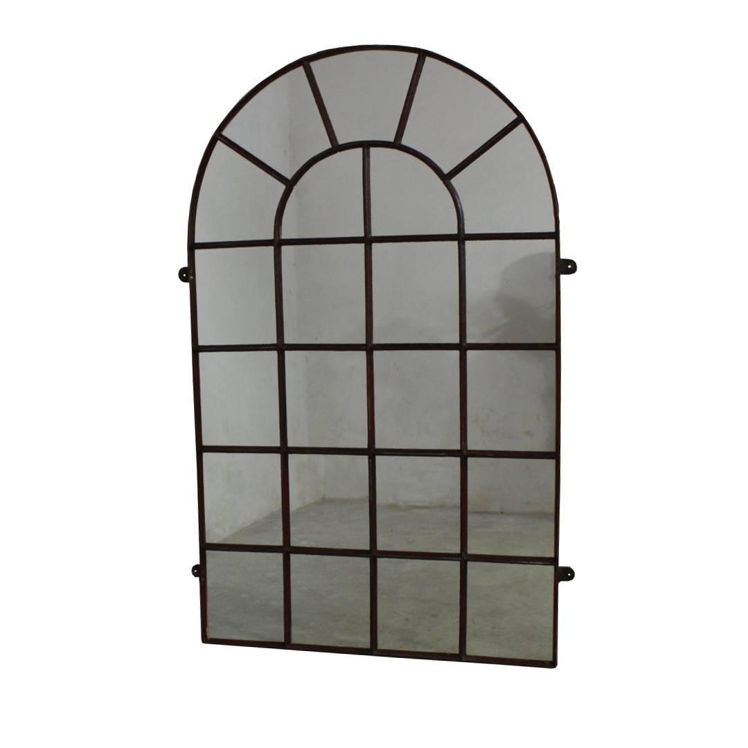 19th century industrial iron window frame mirror for sale for Window mirrors for sale