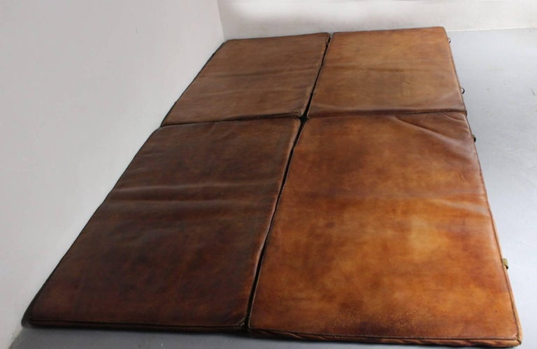 European Set of Four Leather Gym Mats, 1940s For Sale