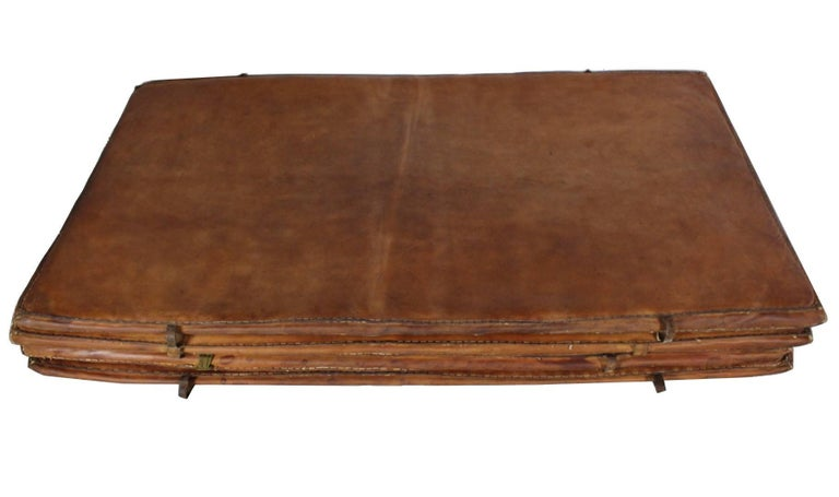 Mid-Century Modern Set of Four Leather Gym Mats, 1940s For Sale