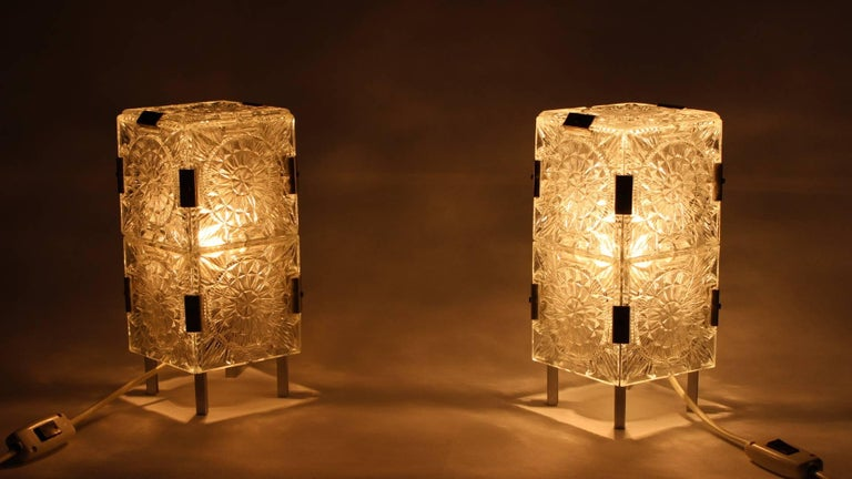 Pair of crystal glass table lamps, made in the 1960s in Kamenicky Šenov (Preciosa), Czech Republic.