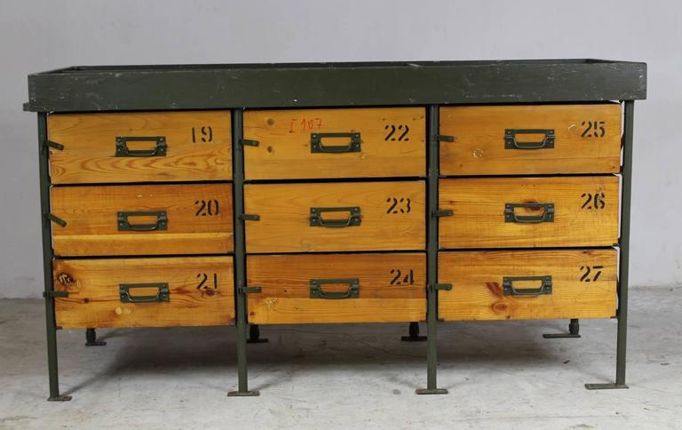 Czech Industrial Army Chest Of Drawers, 1950s For Sale