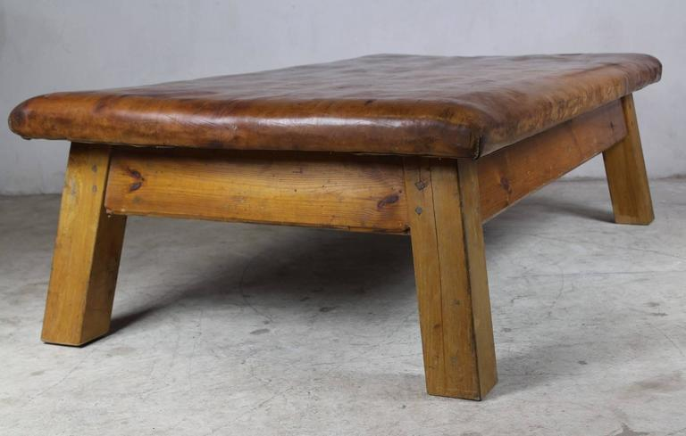 Mid Century Leather Gym Table At 1stdibs