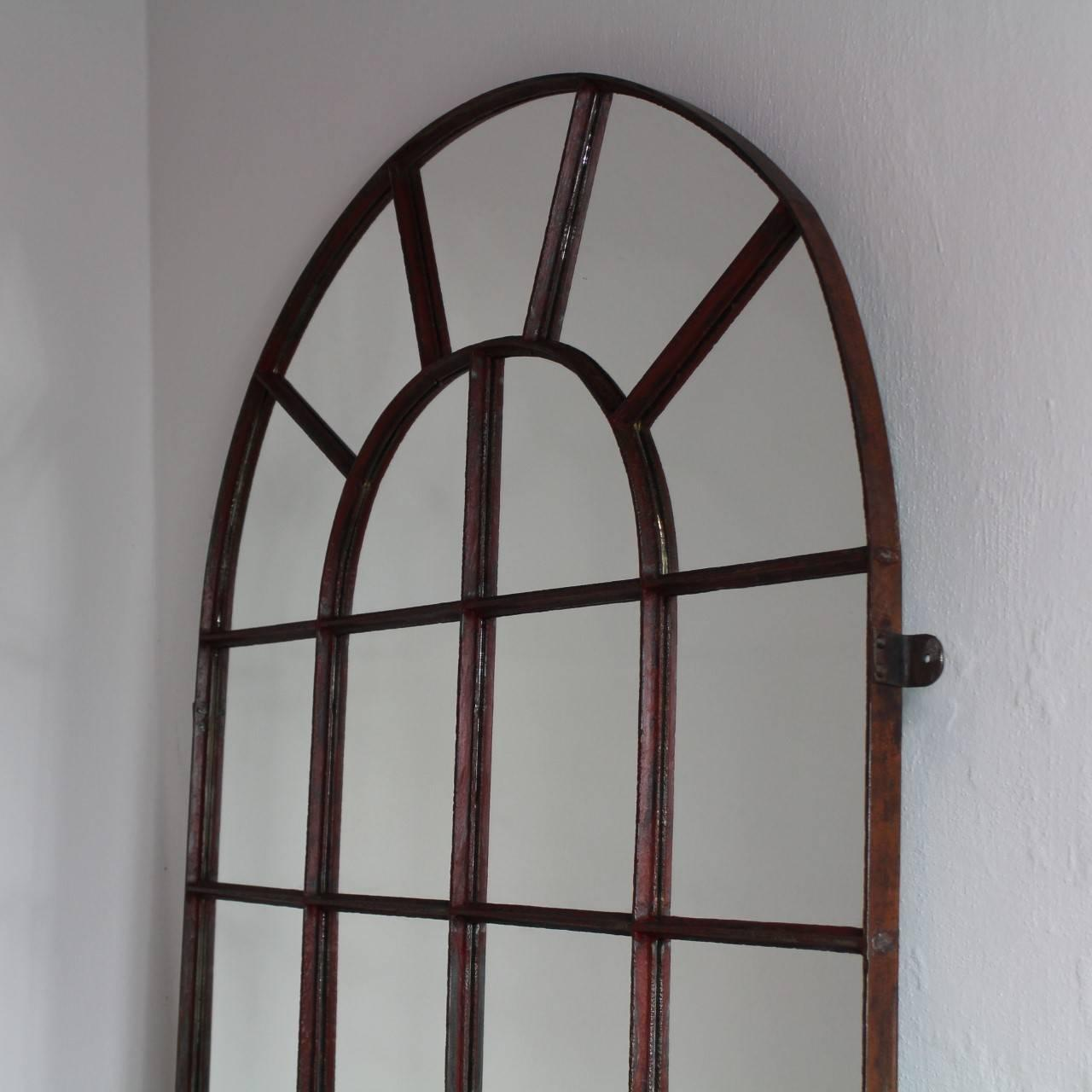 19th century industrial iron window frame mirror 2 pieces for Window mirrors for sale