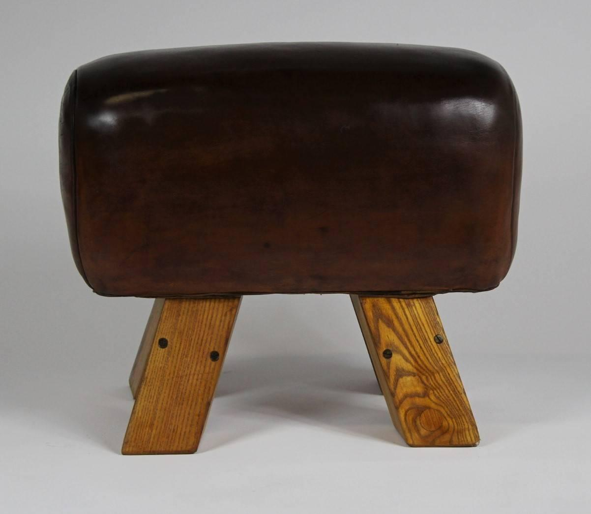 Mid Century Leather Gym Seat For Sale At 1stdibs